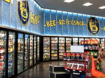 cooler at live oak truck stop filled with beer and non-alcoholic beverages