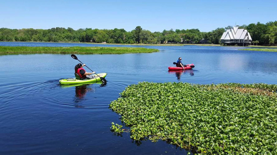 2 people kayaking at camp weed in suwannee county florida