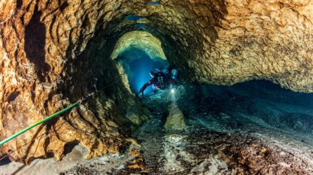 scuba diver in cave at cow springs live oak florida