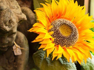 sunflower and statue at village emporium O'Brien Florida