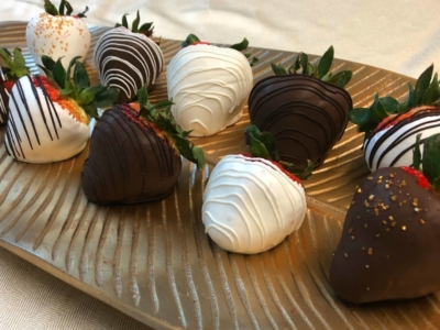 Chocolate covered strawberries on a platter