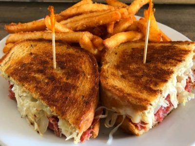 A reuben sandwich and french fries from the Branford Gathering