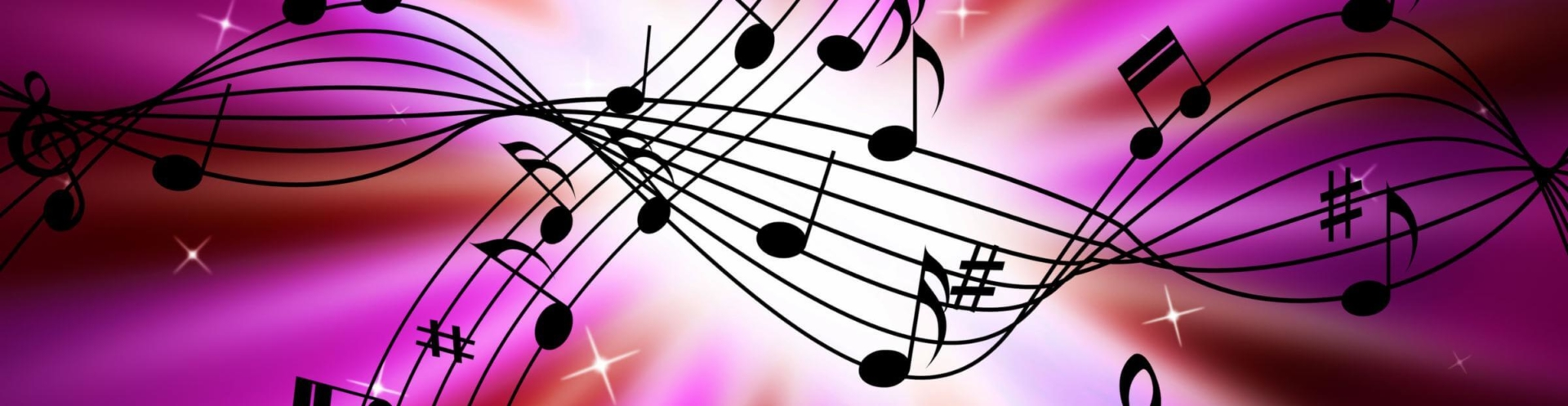 music notes in a purple background