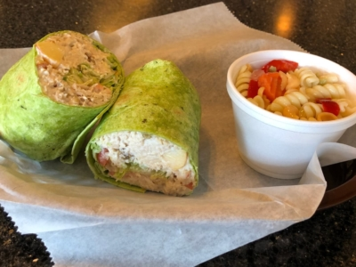 Waldorf wrap with pasta salad from Down Town Cafe