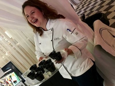 Laura Fowler Goss, chef at the Filling Fork holds a tray of samples